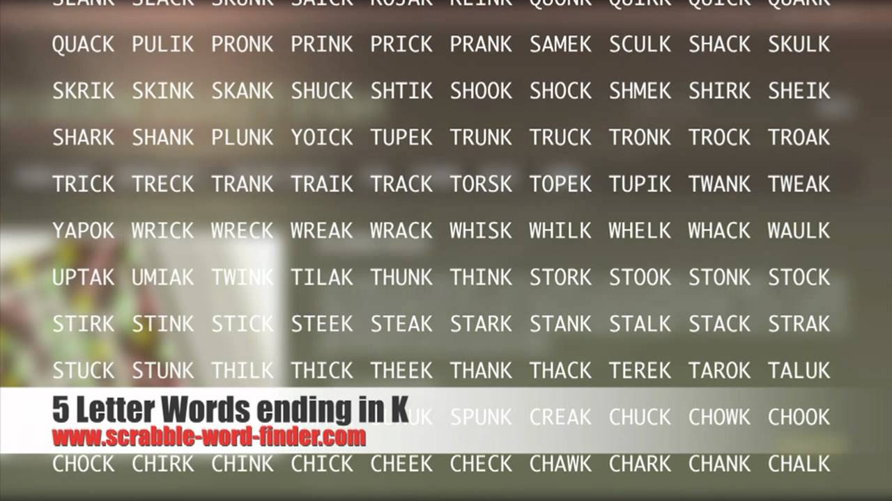 5 letter words ending in K   YouTube