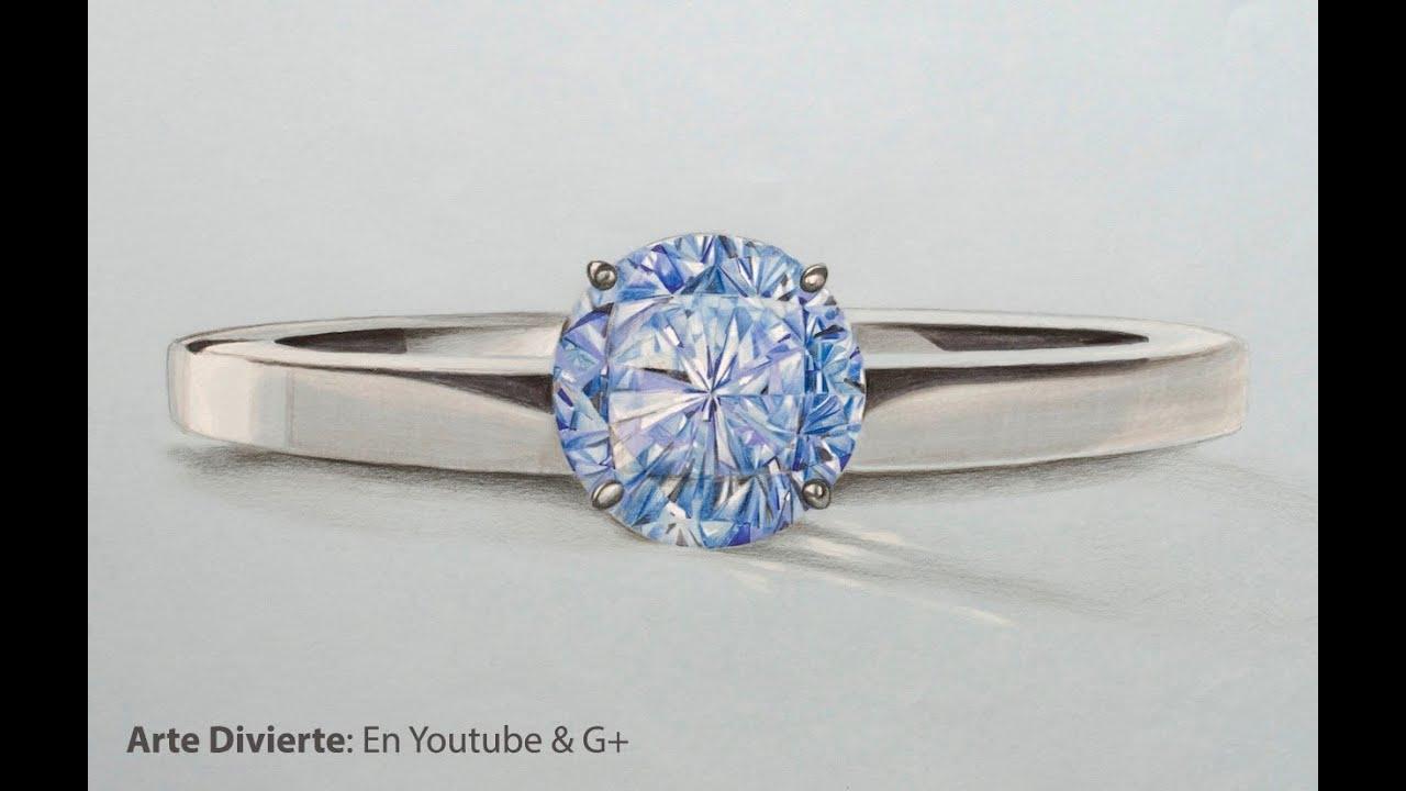 Cómo dibujar un anillo con diamante azul - Arte Divierte. - YouTube