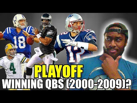 Can you name the NFL starting quarterbacks who have won a playoff game from 2000-2009?