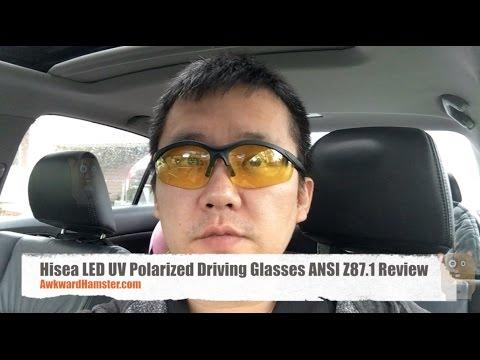 Hisea LED UV Polarized Driving Glasses ANSI Z87.1 Review - YouTube a43518eea