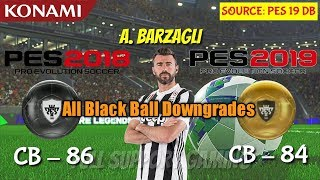 All Black to Gold Ball Downgrades in PES 19 Mobile || Official Ratings by Konami ||