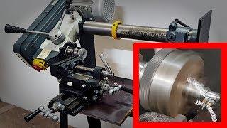 Torno para metal casero con taladro de columna
