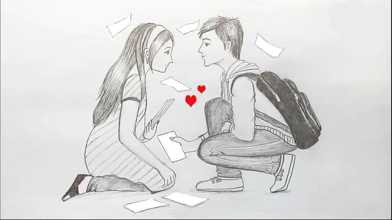 How to draw scenery of love at first sight step by step ...