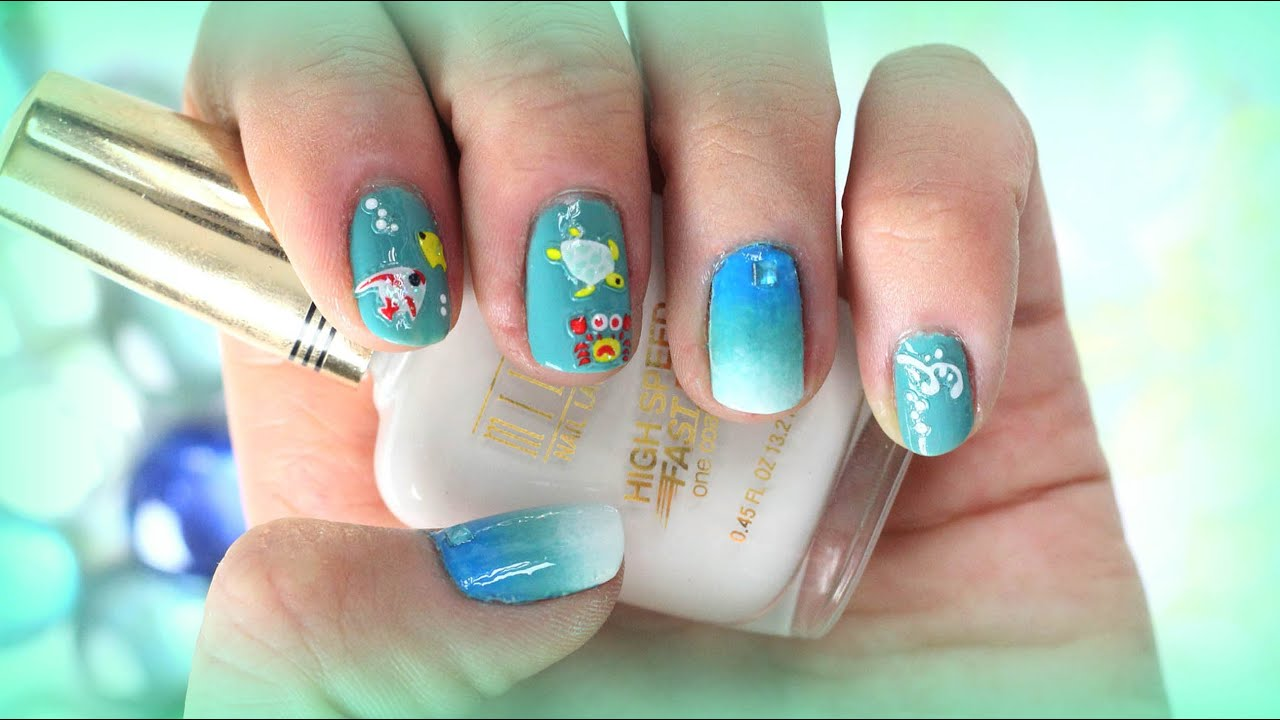 Summer beach ombre nail art design for short nails with decals summer beach ombre nail art design for short nails with decals youtube prinsesfo Gallery