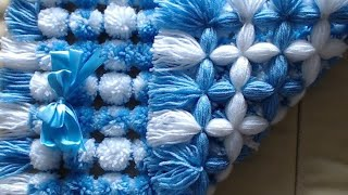 Pom pom blanket. How to add two tone pom poms. VERY EASY