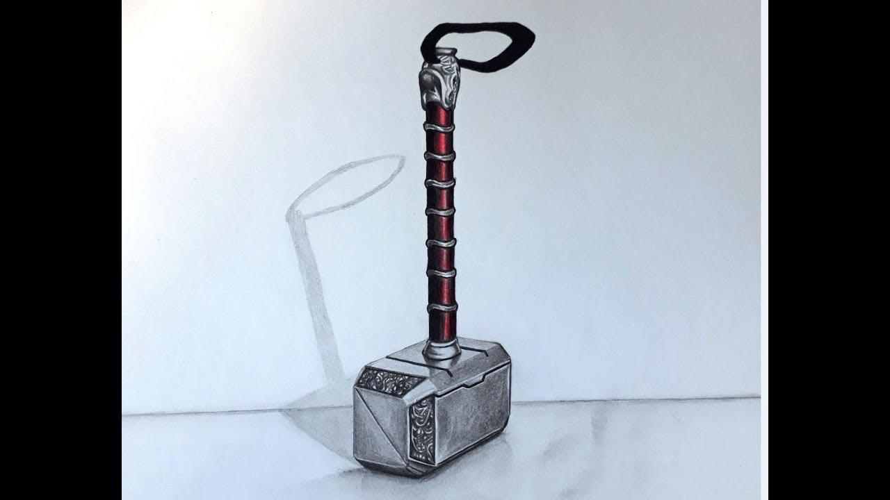 Como Desenhar O Martelo Do Thor Em 3d Youtube