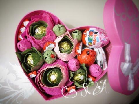 Подарок на день рождения своими руками. Шикарная коробка с киндерами и цветами.