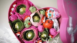 Что подарить на 14 февраля? Шикарная коробка с киндерами и цветами.