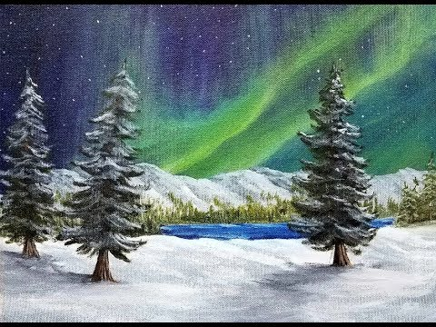 Tutorial - Aurora Borealis Northern Lights - Acrylic Painting