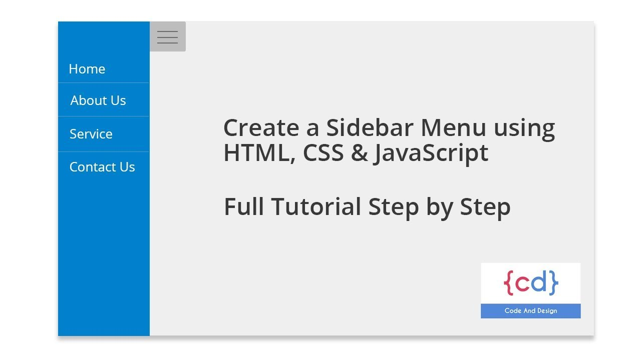 Create a Sidebar Menu using HTML, CSS & JavaScript