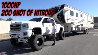 MASSIVE LIFTED 1000HP TRUCK TOWS LIFTED FIFTHWHEEL TRAILER!P