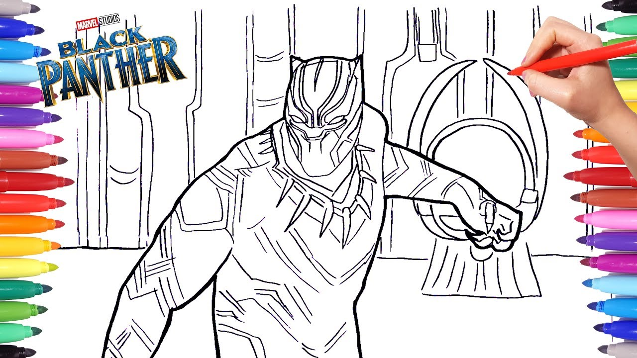 black panther coloring pages drawing and coloring marvel black panther superheroes coloring pages - Black Panther Coloring Pages