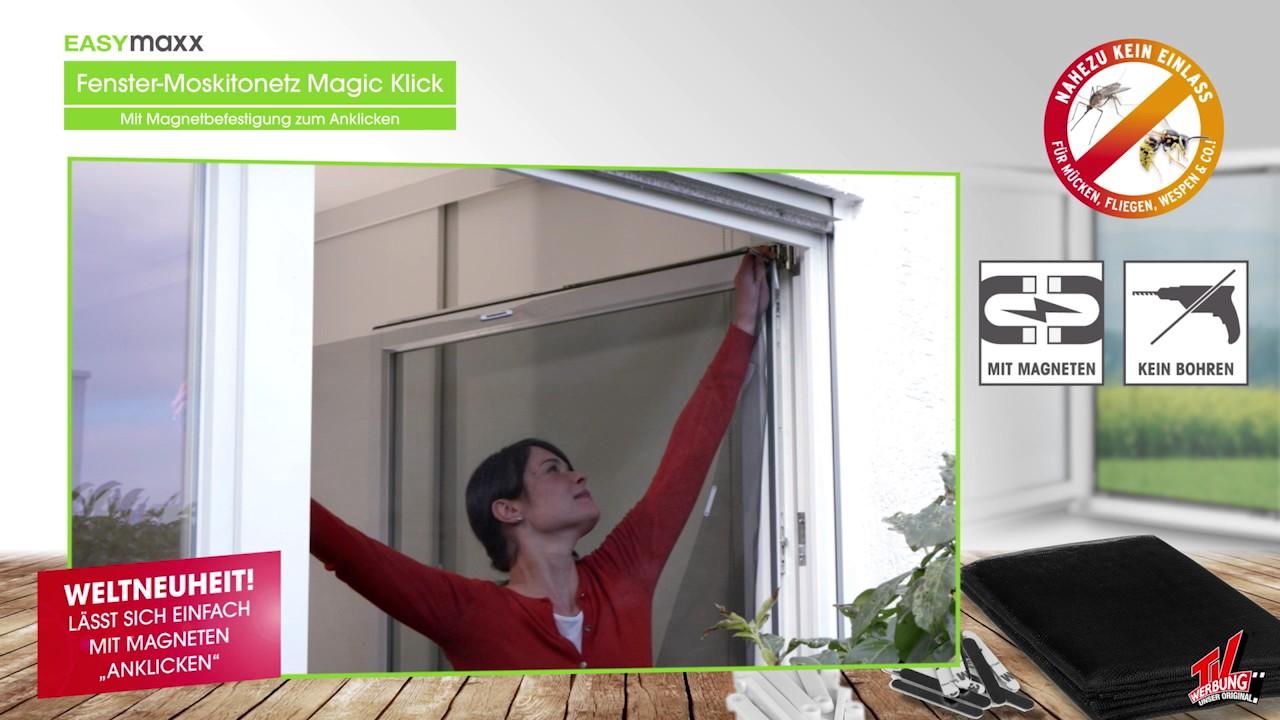 easymaxx fenster moskitonetz mit magnetbefestigung 150x130cm in schwarz youtube. Black Bedroom Furniture Sets. Home Design Ideas