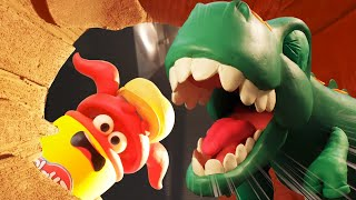 Play Doh Videos | Dinosaur vs Volcano Slime Explosion 🌋 Stop Motion | The Play-Doh Show