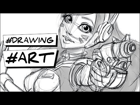How to draw DVA Overwatch character #Illustration #Painting #Drawing