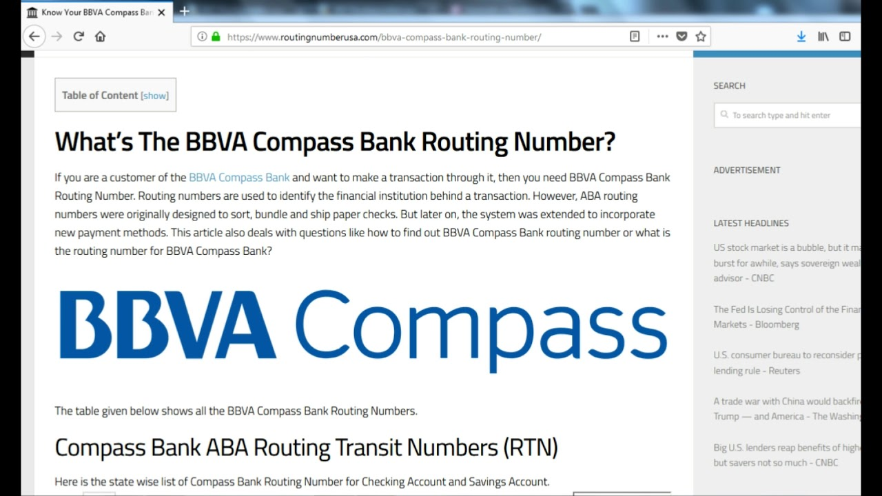 compass bank number