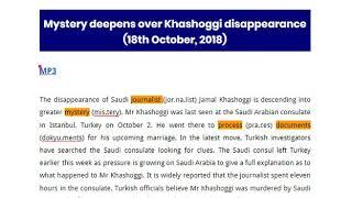 Jamie Cynthia moment82826 Mon Wed Fri 9pm BN Mystery deepens over Khashoggi disappearance