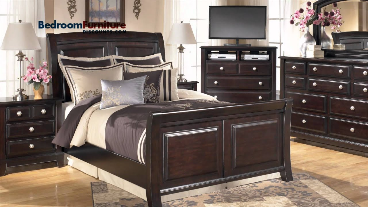 Ashley Ridgley 4 Piece Sleigh Bedroom Set In Dark Brown Youtube