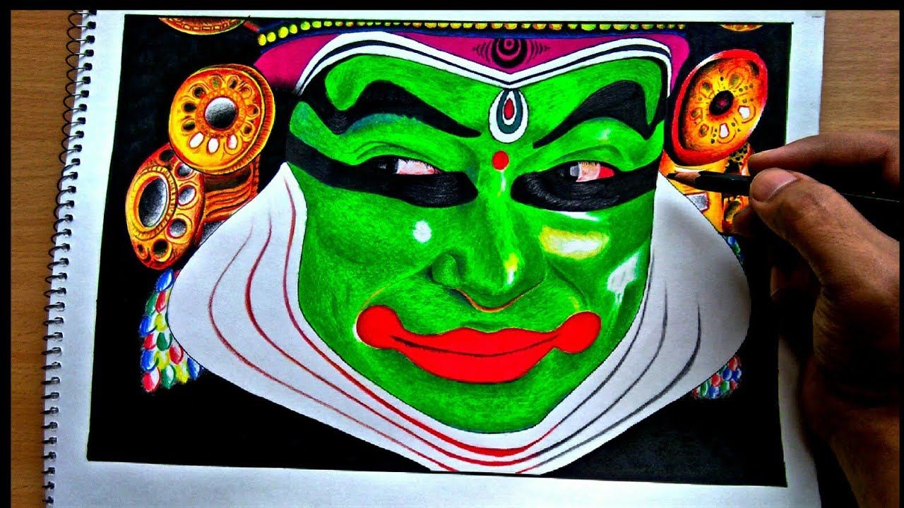 Kathakali story portrait drawing the indian classical dance form