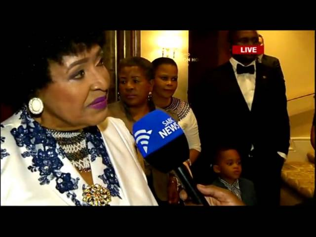 Winnie Madikizela-Mandela arrives for her birthday celebration dinner