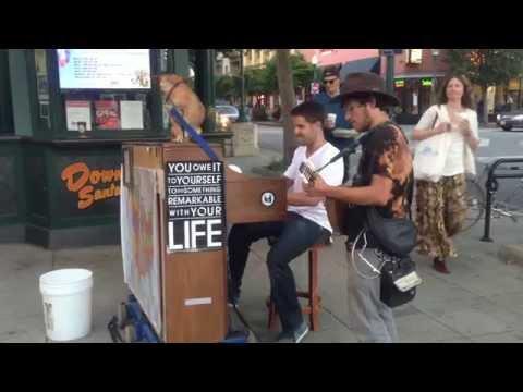 Spontaneous Street Piano Bluegrass and Mandolin Jam