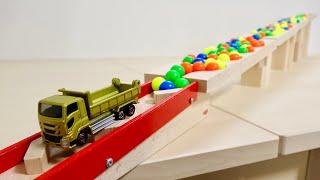 ダンプトラック 清掃車 マーブルランASMR HABA 木製ウェーブスロープ スーパーロングコース