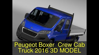 3D Model of Peugeot Boxer  Crew Cab Truck 2016 Review