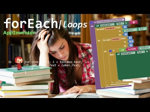 Learn App Inventor: for Each loops (for each number, for each item)