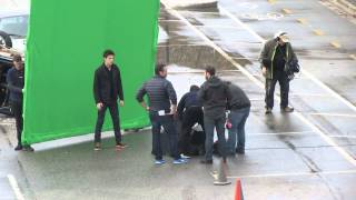 Grant Gustin as Barry Allen does some prep runs to film for The Flash