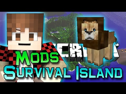 Minecraft: Survival Island Mods Ep. 1  LION, BIG CAT FIGHT! How To Build First House!