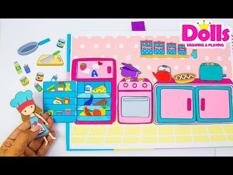 🍳🍼👩🍳MAKING PAPER QUIET BOOK KITCHEN DRAWING & PLAYING WITH DOLLS PAPERCRAFT FOR KIDS