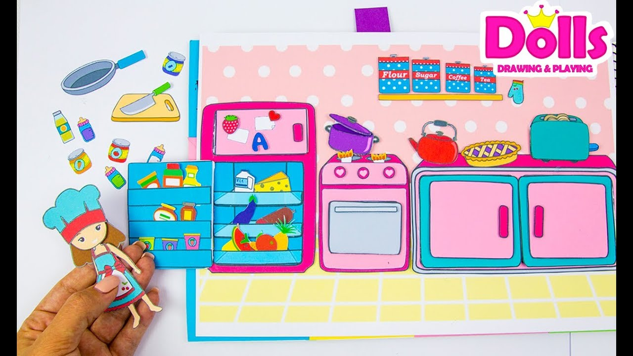 Baby Dolls Playing Youtube Making Paper Quiet Book Kitchen Drawing Playing With