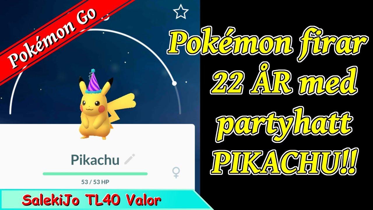 22 års present Pokémon firar 22 år!! Pikachu med partyhatt och fast move Present  22 års present