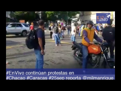 #EnVivo continúan protestas en  #Chacao #Caracas #25sep reporta @milmanrique
