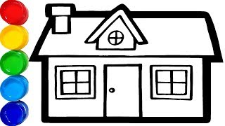 Learn How to Draw and Coloring Houses - For Children - Learn Colors