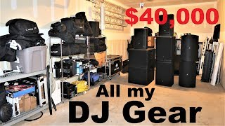 FULL DJ Garage TOUR   All my equipment   Speakers Lights Stage Truss Cables Stands