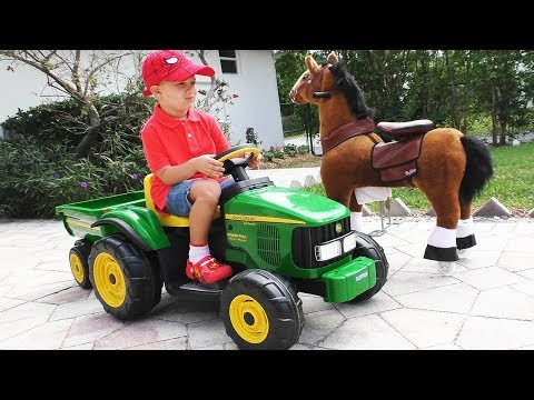 Roma Pretend Play with tractor and horse toy