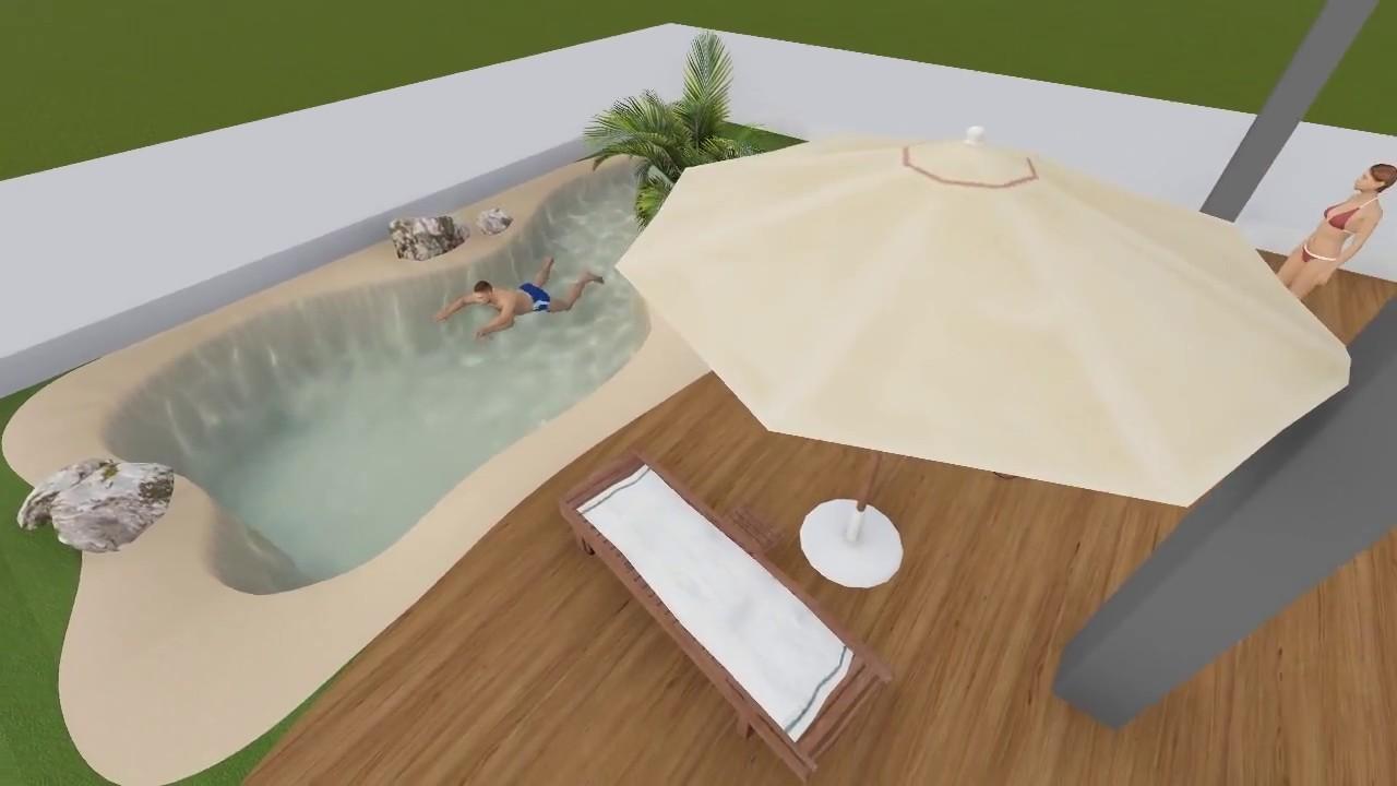 Dise o 3d para piscina de arena jard n y terraza youtube for Programa diseno de piscinas 3d gratis