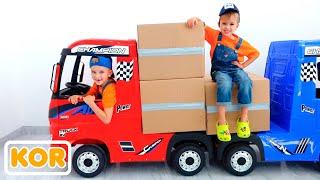 블라드와 니키타는 아이를 위해 트럭으로 경기 척