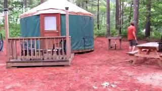 Pinewood lodge Campground Yurt Pacific yurt camping in a yurt Massachusetts