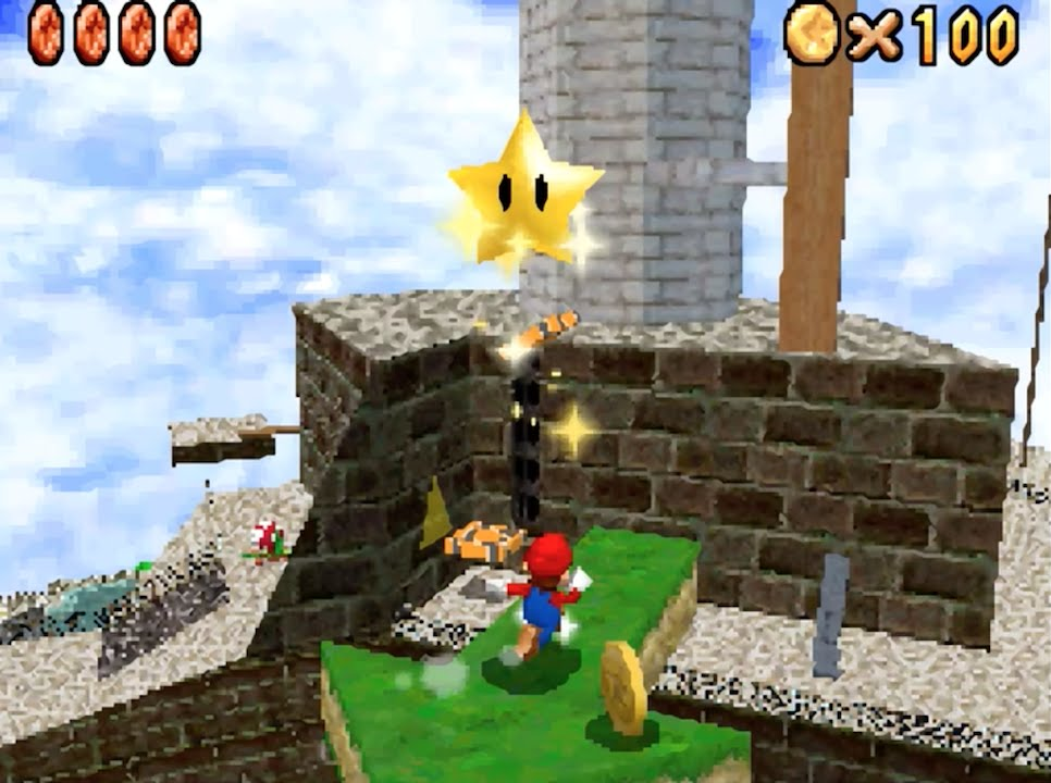 super mario 64 ds whomp 39 s fortress red coins on the floating isle 100 coins hd youtube. Black Bedroom Furniture Sets. Home Design Ideas