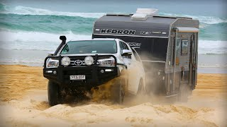 Beach towing - Hilux with Kedron Caravan