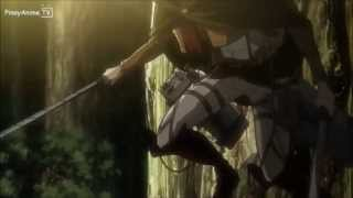 "Shingeki no Kyojin 進撃の巨人 All Out ACTION HD ""Mikasa + Levi vs Female Titan"""