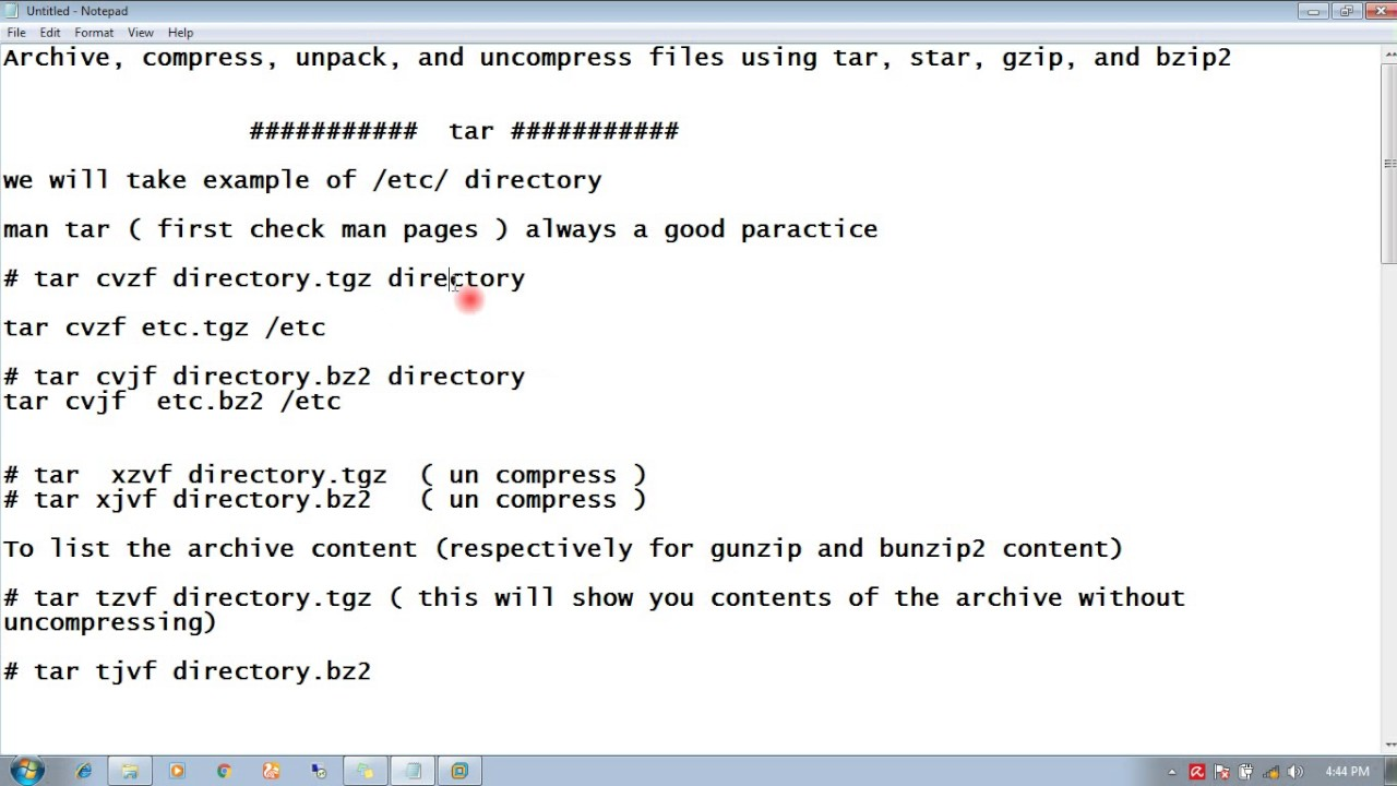 RHEL 7 Archive, compress, unpack, and uncompress files using tar, star,  gzip, and bzip2