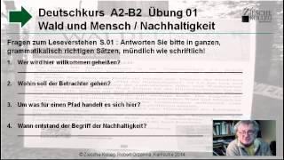 Deutsch lernen A2 - B2 Fragen zum Leseverstehen S.01 Waldkunst Pfad für Nachhaltigkeit