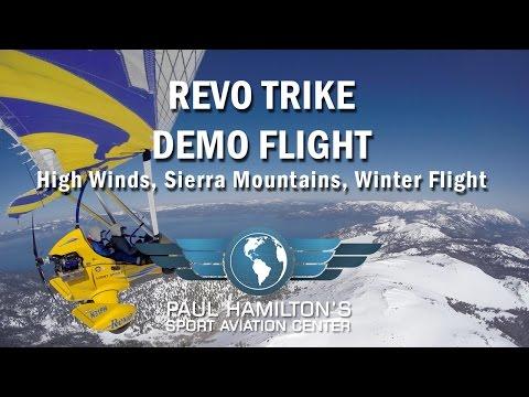 Revo Trike Demo Flight in High Winds, Sierra Mountains, Winter Flight
