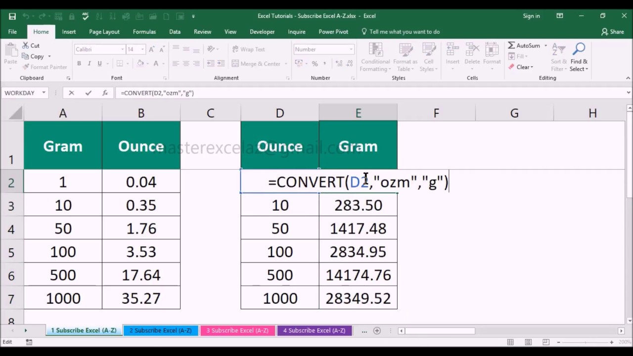 How to Convert Gram to Ounce and Vice versa in MS Office Excel Spreadsheet 2016