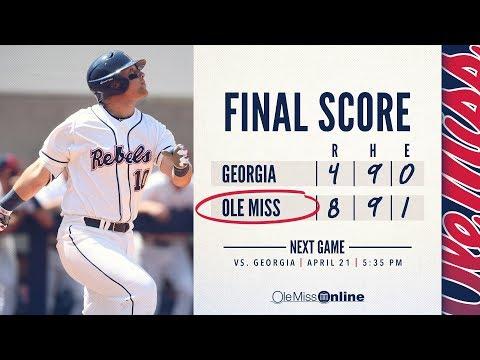 HIGHLIGHTS   Ole Miss defeats Georgia:  Game #2  8 - 4 (04/21/18) #WAOM #FinsUpRebels