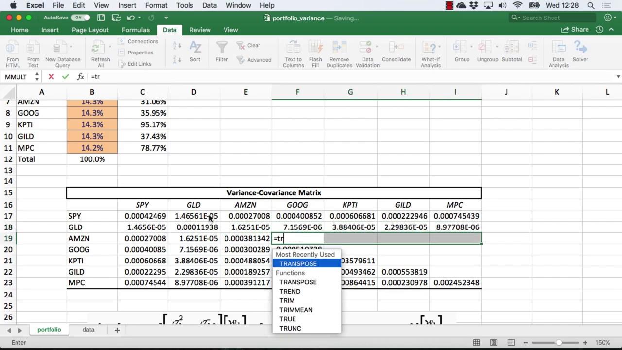 Calculate Portfolio Volatility Excel