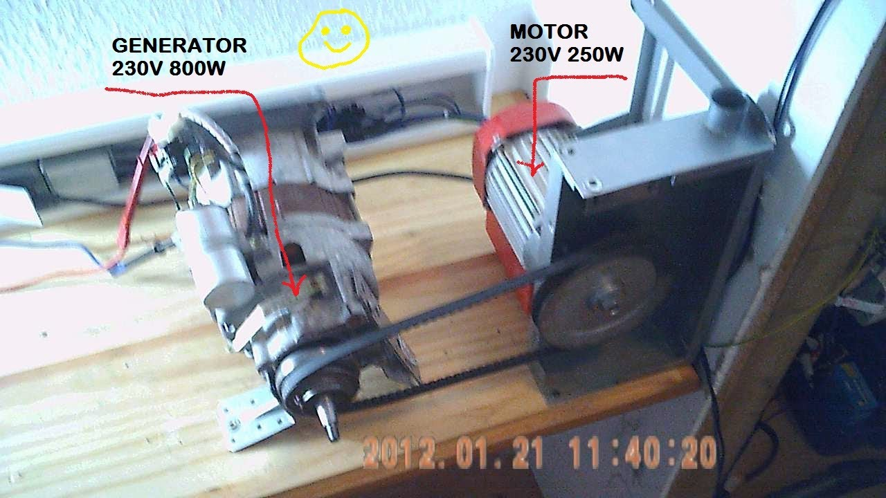 Generator motor liefert jetzt energie 2 3 youtube for Generator sizing for motors